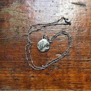 Pi Beta Phi Sorority Hammered Silver Necklace